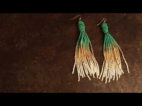 Tassel beaded earrings Panduro Hobby