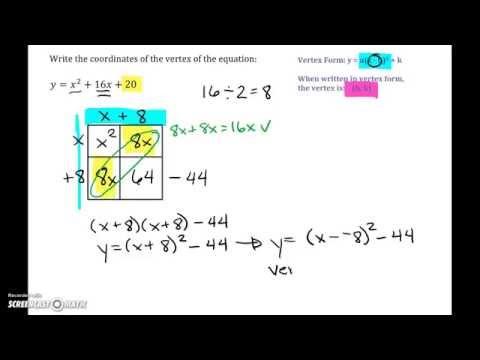 Quadratic Equations: Standard Form to Vertex Form