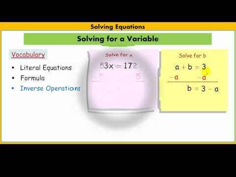 Solving for a Variable in Literal Equations