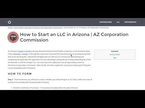 How to Start an LLC in Arizona | AZ Corporation Commission
