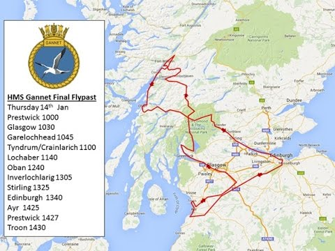 HMS Gannet Search and Rescue unit farewell flight over Stirling