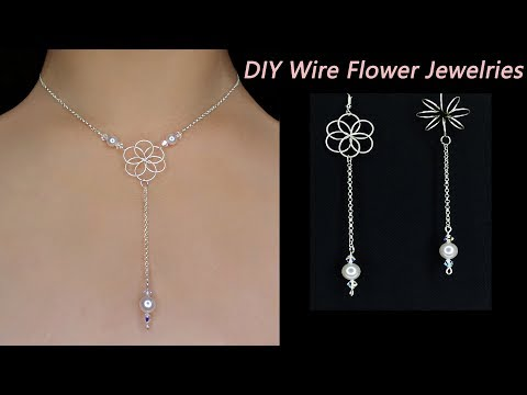 Easy DIY: How to Make Wire Wrapped Flower Necklace with Pearl/3D Wire Wrapped Flower Earrings