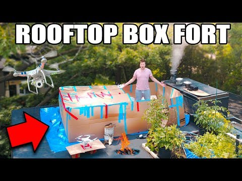 24 HOUR ROOFTOP BOX FORT SURVIVAL CHALLENGE!! 📦