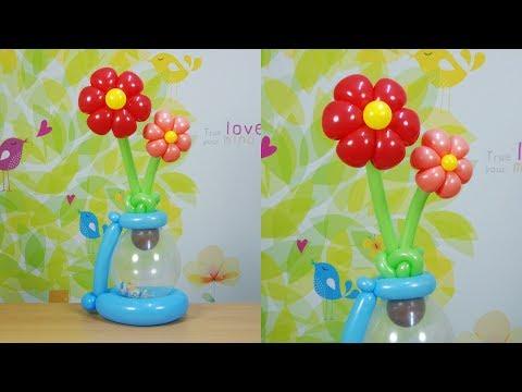 풍선아트 040 Balloon Flower pot with Candy (캔디를 넣어준 풍선 꽃화분)