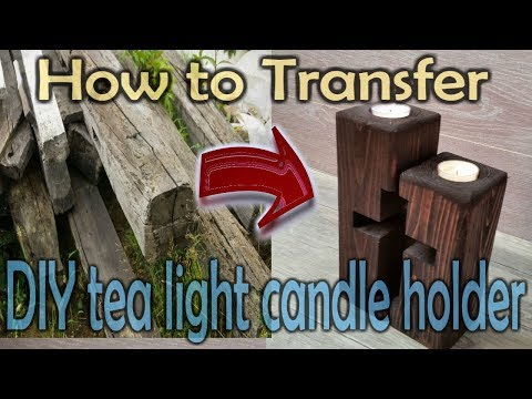 DIY tea light candle holders from reclaimed wood
