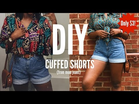 DIY | HOW TO MAKE 90s HIGH WAISTED CUFFED SHORTS FROM MOM JEANS | SUPER EASY TUTORIAL KIITANA