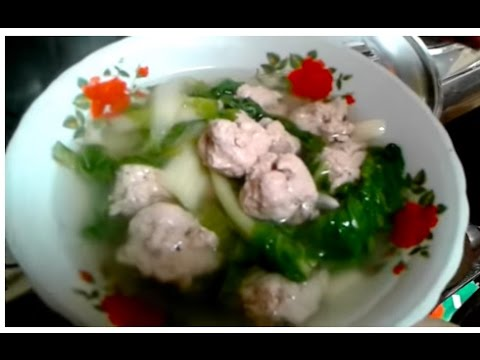 Khmer Cuisine,How to make Bok choy Soup with fish meatball.