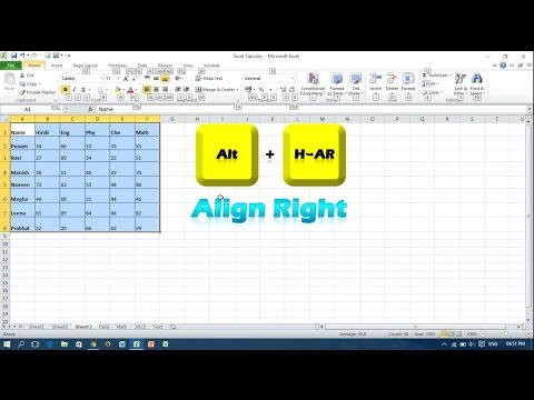 Keyboard Shortcut for Text Alignment - Microsoft Excel