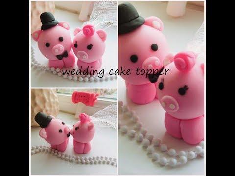 how to make fondant pig cake topper for wedding