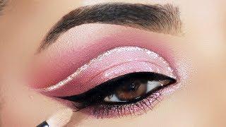 Soft Pink (Monotone) Glitter Cut Crease Makeup Tutorial