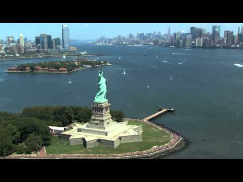 Free Stock Footage Clip of the Statue of Liberty - Aerial Video