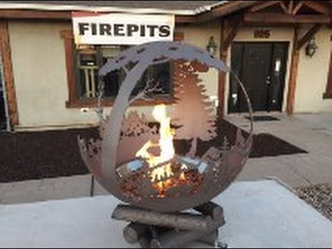 Large Ball Fire-Pit with Fire Glass