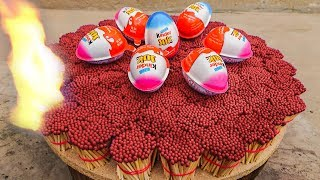 EXPERIMENT 20000 MATCHES VS KINDER JOY Egg – The Most Satisfying Video – Amazing Crazy Experiment