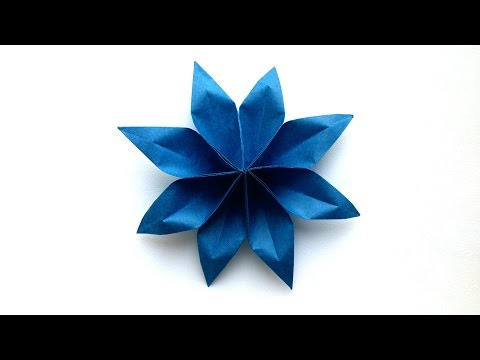 How to make an easy Origami Paper Flower (8 Petal) - Origami Paper Tutorials Flower