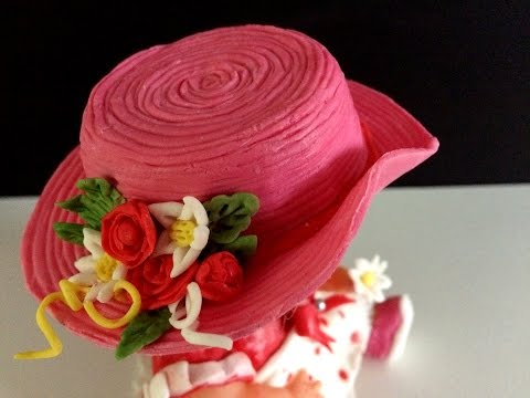 Fondant hat: Hat for a doll: Cake decoration: Fondanthut: Birthday cake for baby girl