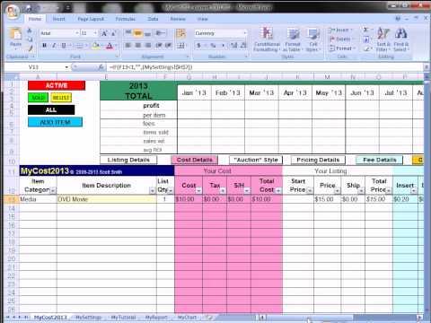 MyCost Tutorial: Ebay Fee / Profit Calculating Spreadsheet