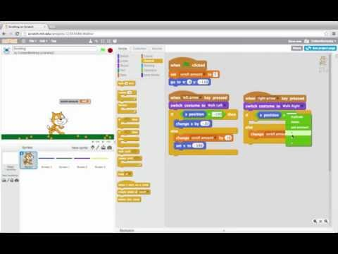 Scrolling Screens: Programming in Scratch 2.0