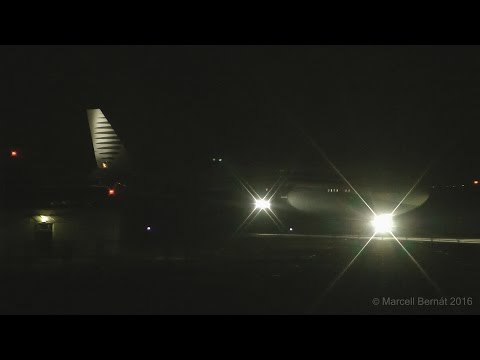 Qatar Amiri Flight Boeing 747-8i taxi and takeoff in darkness