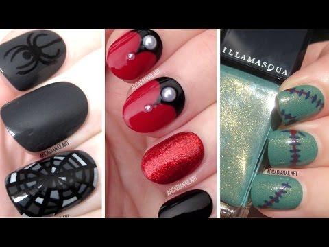 Halloween Nail Art  - Vampire, Cobweb & Frankenstein Nails!
