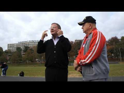 Author James Bradley tells joke at the Iwo Jima Memorial