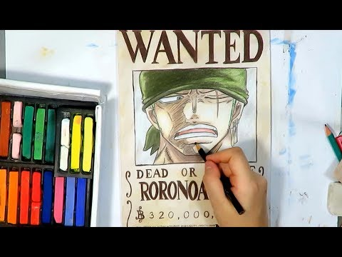 One Piece Roronoa Zoro Speed Drawing - Wanted Poster