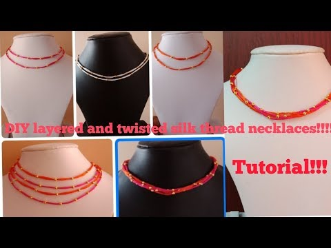 Making of stylish double and multilayered silk thread designer necklace at home