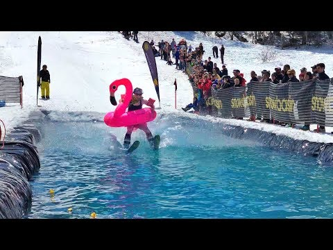 Snowboard and Ski into FREEZING pond!!