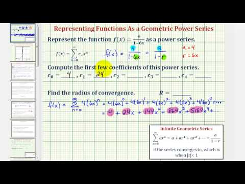 Ex 1:  Find a Power Series to Represent a Rational Function
