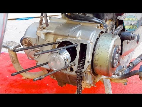 Installing piston and valves to CD-70 motorcycle engine   Head cylinder assemble/disassemble Ct 70