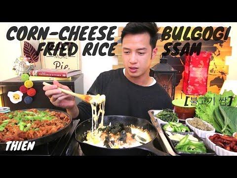 [mukbang/cookbang with THIEN]: Corn-Cheese Kimchi Fried Rice & Bulgogi Ssam (Pork Lettuce Wraps)