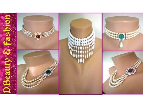 Latest DIY Pearl Choker Necklace Set Designs for Young and Beautiful Look