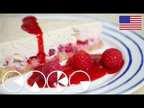 PANNA COTTA CAKE with RASPBERRY SAUCE