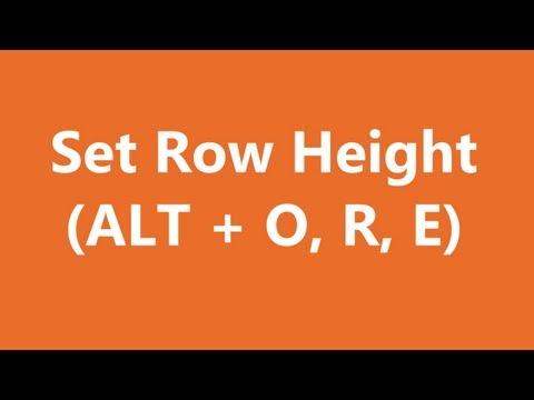 Excel Shortcuts - Set Row Height
