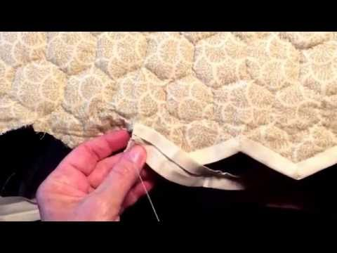 how to hand finish a scalloped edged quilt