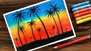 Download Landscape Drawing for beginners with Oil Pastel Step by Step Video