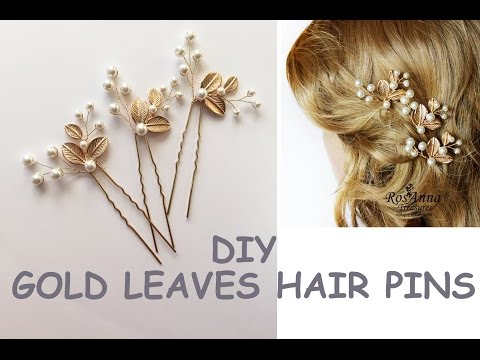 Easy DIY Bridal Gold Leaves Hair Vine Pins  Bridal Hair Tutorial Hair Vine, Wire beads Como hacer