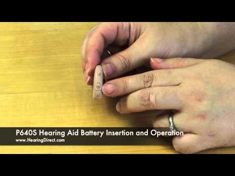 P640S Hearing Aid Battery Insertion and Operation