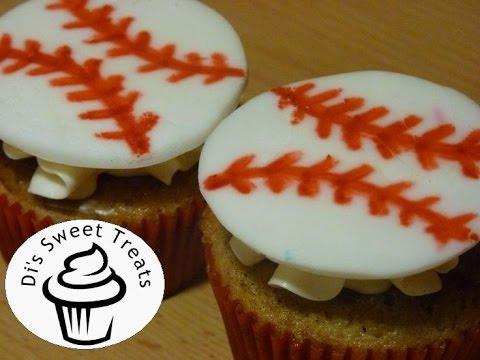 Baseball Cupcakes- Fondant Cupcake Toppers- Di's Sweet Treats
