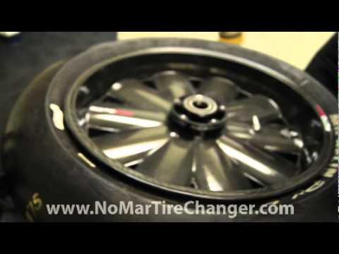 No-Mar motorcycle tire change on a carbon fiber rim