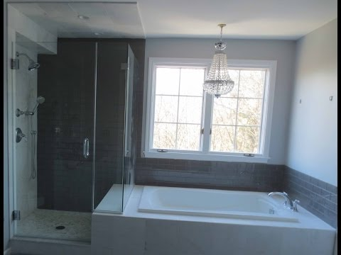 Complete bathroom install subway glass tile and Carrera marble tile Part 1