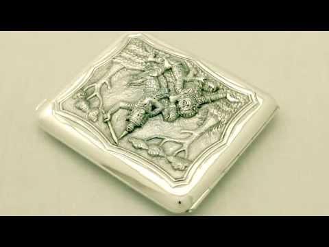 Burmese Silver Cigarette Case - Antique Circa 1900 - AC Silver (A1926)