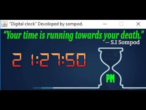 Digital Clock application using Java swing