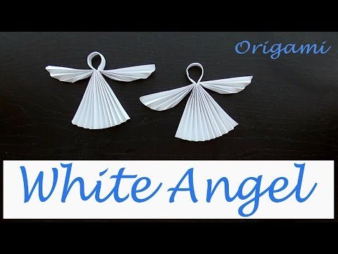 White Angel. Christmas Origami. Paper Angel 3d