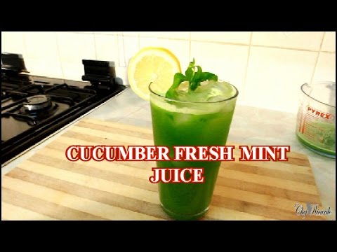 Cucumber And Fresh Mint Juice /Ginger Lemon Honey And Ice | Recipes By Chef Ricardo