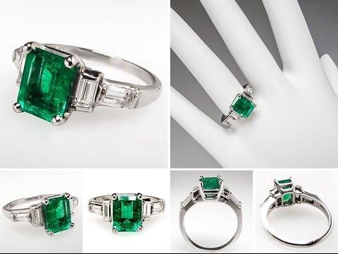 Emerald Diamond Engagement Rings Antique