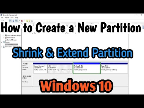 How to a Create New Partition or Shrink & Extend Partition in windows 10