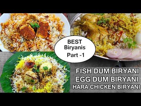Delicious BIRYANI RECIPES-PART-1/Fish, Hara Masala, Egg Dum Biryani Recipes