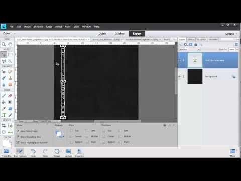 Create a Vertical title using the Photoshop Elements type tool