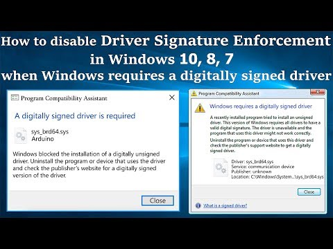Disable Driver Signature Enforcement in Windows 10\8\7, Windows requires a Digitally Signed Driver