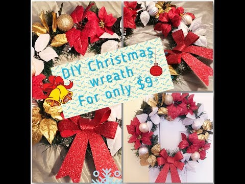 Easy Christmas Wreath DIY/ dollar tree Christmas decorations 2017